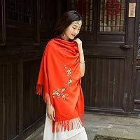 ZHANG Mei Bufandas del otoño y del Invierno de Las Mujeres embroman la Bufanda Salvaje de la Bufanda de la Bufanda Salvaje Caliente de Las señoras (Color : B)