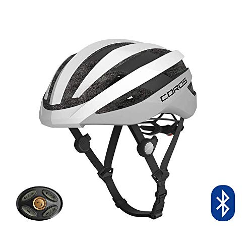 COROS SafeSound - Sistema de sonido para casco de ciclismo con sistema de apertura de orejas, llamadas de teléfono con música Bluetooth, control remoto inteligente, ligero, blanco mate, L (59-63CM)