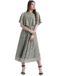 e7a87f05871 Zink London Women s Polyester Elastene Grey Self Design Fit   Flare Dress
