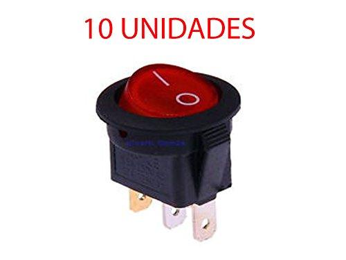 10X Interruptor Redondo Basculante Rojo iluminado