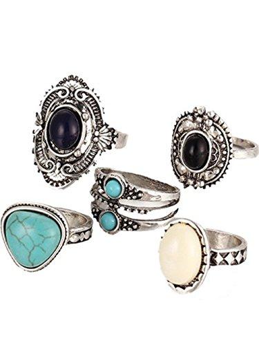 Vovotrade✿✿2017 5pcs / Set Frauen böhmische Weinlese Silber Stapel Ringe über Knöchel blaue Ringe eingestellt (Opal Kostüm Ring)