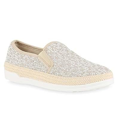 Damen Slipper Plateau Espadrilles Sneaker Slip-Ons Freizeit Gesteppt Bequem Pailletten Slippers Schuhe 136240 Creme Bast 40 Flandell DTJhh4