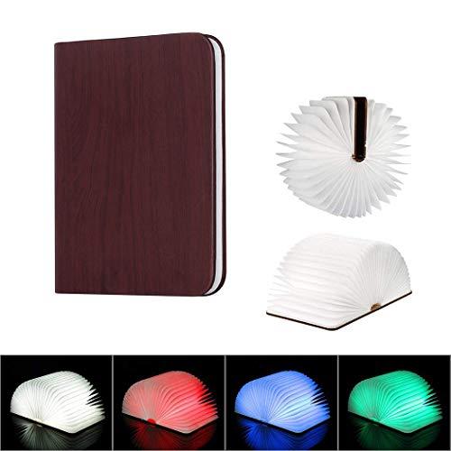 JJK Luz De Madera del Libro, 4 Colores Modos USB Recargable Creativo Plegable LED Noche Luz De La Lámpara De Cabecera Mesa De Decoración De La Lámpara, Grano De Madera Marrón,Chrome