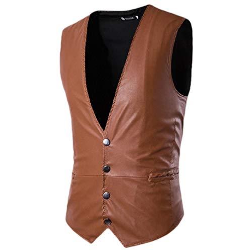 CuteRose Men's Shiny Metallic Blazer Oversized V Neck Business Waistcoat Light Brown L