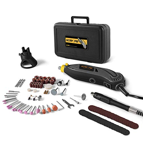 Amoladora Eléctrica, DETLEV PRO Mini Amoladora Herramienta Rotativa con 100 Accesorios 6 Velocidad Variable, RTM4132-10E