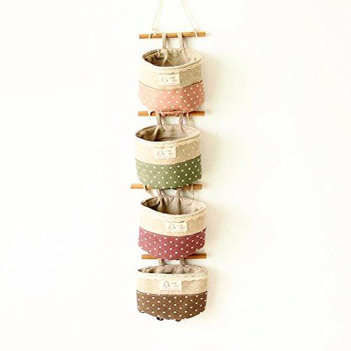 OUNONA 4pcs Wall colgante organizador bolsa de encaje tapa de contenedores de almacenamiento de pared bolsas (púrpura verde gris rosa)