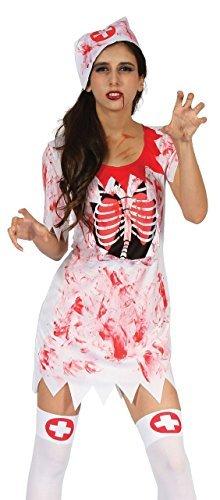 Damen Sexy Toter Zombie Blutige Krankenschwester Halloween Kostüm Kleid Outfit 10-12-14 (Sexy Zombie Krankenschwester)