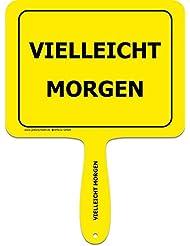 """'Panneaux jaunes + + le original + + Lustiges Jaune Plastique humoristique avec inscription avec poignée + + texte: """"peut-être Demain + + macagua actionneur + + Panneaux jaunes + + Idéal pour le bureau–Amenez vos collègues rire."""