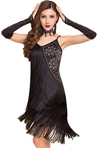 Tanz Frauen Zeitgenössischer Kostüm - GOWE Sexy Lyrische Zeitgenössische Latin Kleid - Damen Pailletten Quaste glitzernden Kleid Salsa Rumba Tango Performance Kostüm, Schwarz/M