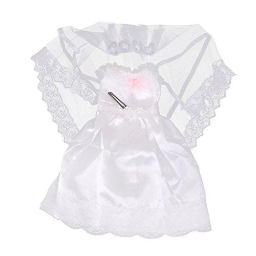 F Fityle Schöne Puppen Hochzeitskleid mit Brautschleier Für 18 Zoll Weibliche Puppen - Weiß