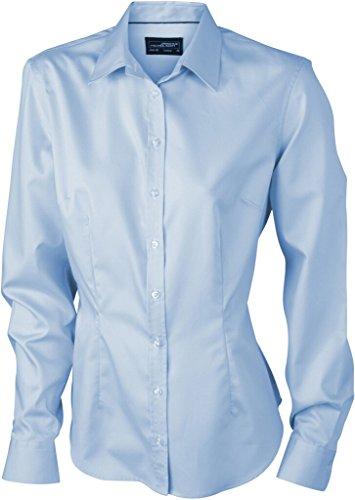 JAMES & NICHOLSON Bügelleichte Langarm Damen-Bluse für Business und City Light-Blue