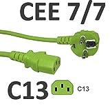 kab24® Kaltgeräte Stromkabel Powerkabel (5m, grün Schutzkontakstecker gewinkelt auf Kaltgerätebuchse gerade)