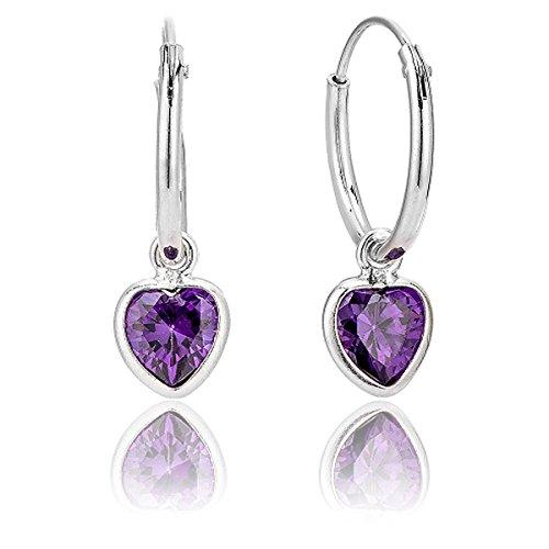 DTP Silver - Pendientes de Aro de mujer 14 mm - Plata 925 con Cristal Swarovski en forma de Corazón - Color Amatista / Rosa Antigua