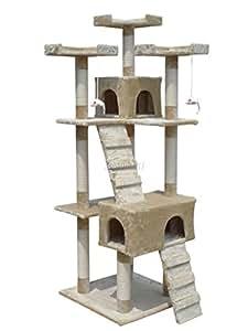 FoxHunter Deluxe Multi Level Cat Scratcher Cat Tree Activity Centre Scratching Post Climbing Sisal Toys 608 Beige Faux Fur 55cm x 55cm x 180cm Height