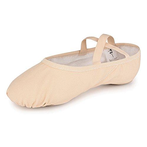 Weicher Ballettschläppchen Tanz geteilte Ledersohle Schuhe Gymnastik Tanzen Hausschuhe für Mädchen Frauen Damen(Bitte wählen Sie eine Größe mehr) (Beige, 43=10.43 inch)