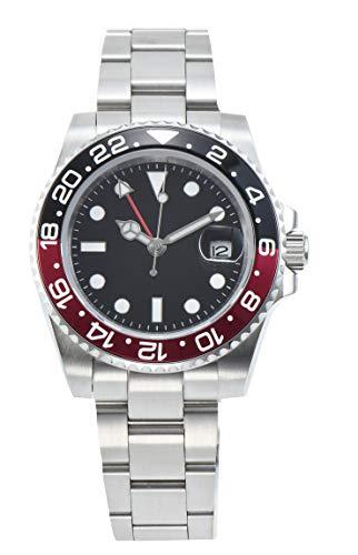 PARNIS 2034-BR GMT Herrenuhr Automatikuhr Edelstahl Saphirglas Drehünette mit eloxierter Aluminiumeinlage Wasserdicht 5BAR DIN 8310 mechanisches Uhrwerk MZ-3813 mit zweiter Zeitzone