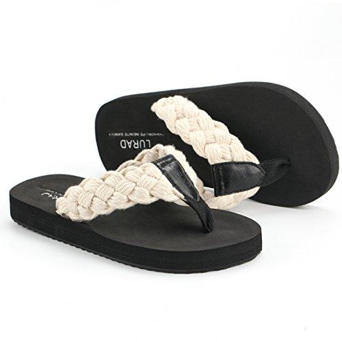 Les tongs hommes, pantoufles en cuir de la mode d'été, résistant à l'usure des sandales antidérapantes, chaussures de plage respirant Corduroy, beige white
