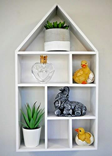 HomeZone Holz Shabby Chic Schwimmende Herz Dekorative Wand Regale Modern und Einzigartig/Rustikale - Weiß Haus