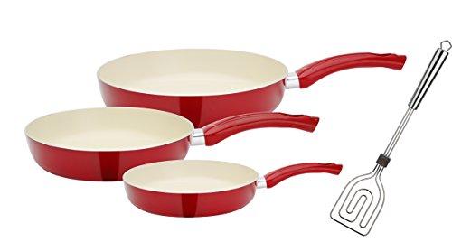 GSW 800358Ceramica Beige Juego de sartenes (4Piezas, Incluye, Scala Todo Espátula, Aluminio, Color Rojo/Crema, 50,1x 29,3x 5,2cm, 4Unidades