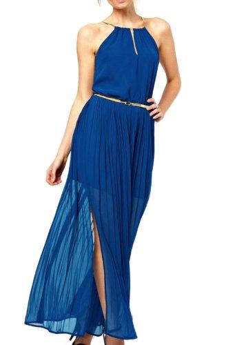 Pinkyee Damen Strandkleid Blau