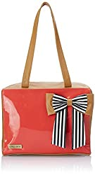 3 Mad Chicks Womens Handbag (Tan and Coral) (SH045 (Tan and Coral))
