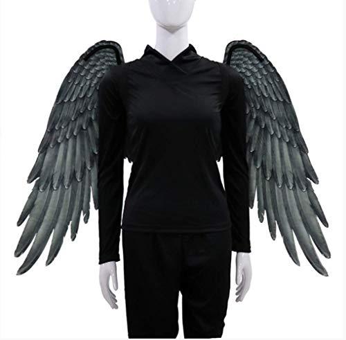 VAWAA Halloween Erwachsene Mädchen Engel Cosplay Teufel Kostüm Dämon Kleid Große Große Schwarze - Engel Und Dämonen Kostüm