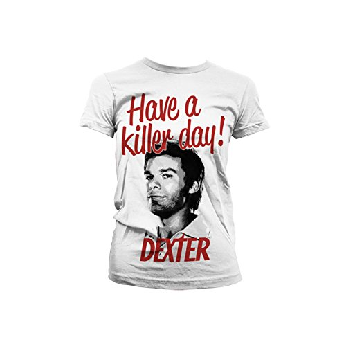 Officially licensed merchandise dexter - have a killer day! girly t-shirt (white), medium
