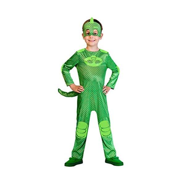 amscan- PJMASQUES Costume Pj Mask Gekko (5-6 Anni), Multicolore, 5, 7AM9902957