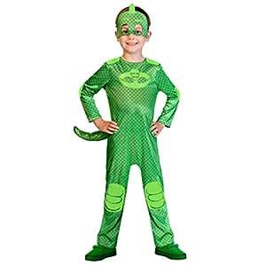 amscan PJMASQUES Costume PJ Mask Gekko (3-4 Anni), Multicolore, 3, 7AM9902956