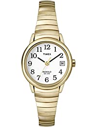 Timex Women's T2H351 Quartz Watch with White Dial Analogue Display and Gold Plated Bracelet