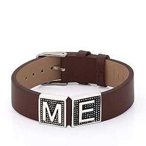 DOOSTI bracelet en cuir avec 2 lettres ou symbole au choix avec gravure gratuite