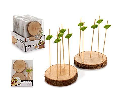 ronco aus Holz 2 Stück mit 10 Fächern aus Bamboo Bambu Pub APERITIVO Finger Food ANTIPASTI Frutta Festa Party Geburtstag Snack Buffet Dekoration ()