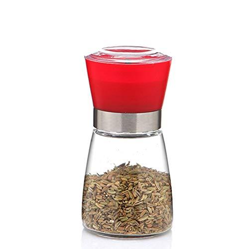 Pepper-Mühle Grinder, Adjustable Coarseness und gebürstete Glas Shaker Spice Container Condiment Jar Holder Grinding Bottle Kitchen Tools,Red (Spice Jar-schleifer)