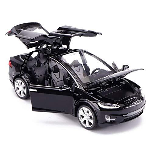 SSBH Modellauto Tesla X Geländewagen 1:32 Simulation Druckguss Legierung Spielzeugauto Modell Dekoration Fahrzeuge for Erwachsene Kinder Holz Und Mustang Kleinkinder Metall Auto (Color : Black)