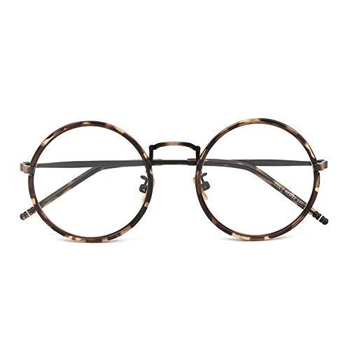 HAIBUHA Brille Retro TR90 Runden Brillengestell Flacher Spiegel Unisex (Farbe : Bronze)