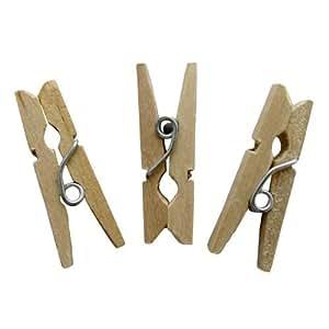 Mini Wooden Pegs, Plain, 100pk