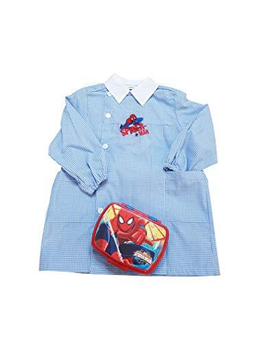 Spider-man grembiule + portamerenda scuola materna quadri cielo asilo per bambino (art. u942011) (55-4 anni)