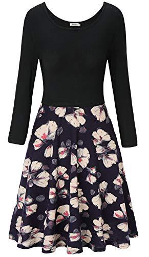 KorMei Damen Mini Skaterkleid Basic Rundhals 3/4-Arm Fattern Stretch Party Strandkleid Knielang Kleid Blau S Print-mini-kleid Top