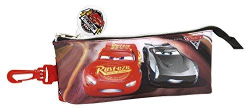 Cars 3 Estuche portatodo Triangular, Color Rojo/Negro, 20 cm (SAFTA 811709323)