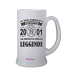 Idea Regalo - pazza idea Boccale Bicchiere Birra Scritta Vita Comincia 18 Anni 2001 Leggende Compleanno