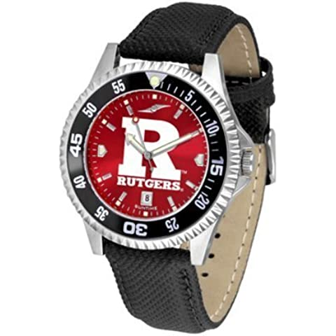 Rutgers Scarlet Knights Competitor AnoChrome Men's Watch with Nylon/Leather Band and Colored Bezel by