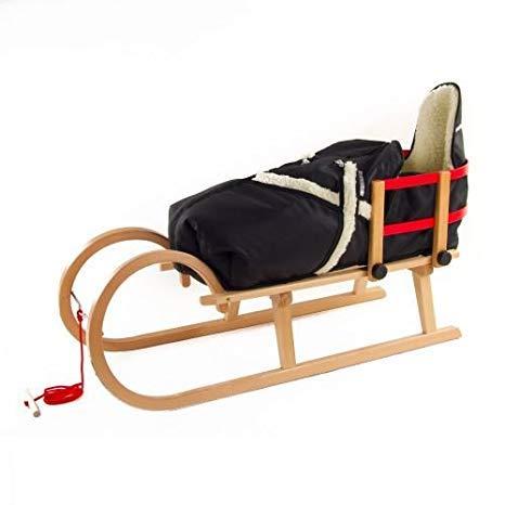 Pinolino Hörnerschlitten Schlitten aus Holz mit Zugseil, Rückenlehne & Fußsack Farbe schwarz