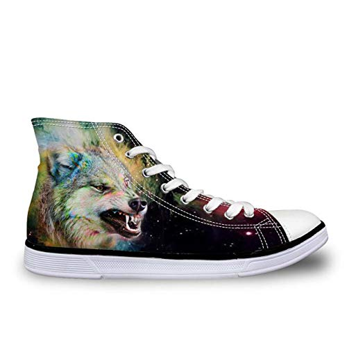 Cool Wolfs Mens Boys Hi Tops Canvas Shoes Plimsolls Comfort Flat Pumps Sneakers Black UK 7