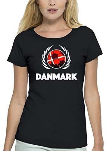 ShirtStreet Denmark Fussball WM Premium Fanfest Damen T-Shirt Bio Baumwolle Stanley Stella Fußball Dänemark Black