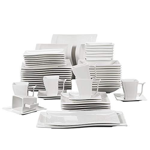 MALACASA, Série Flora, 56 Pièces Vaisselle Porcelaine Blanc Crème