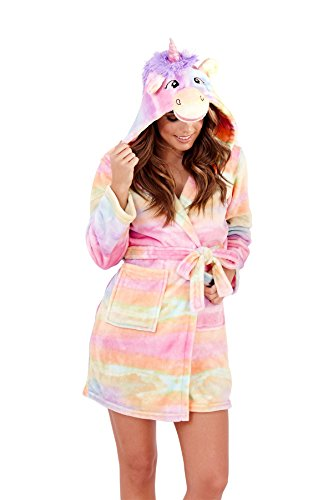 Ladies Luxury Soft Unicorn Robe by Martildo | Hooded Novelty Fun Gift 3D Dressing Gown - 41KqJYY6E0L - Ladies Luxury Soft Unicorn Robe by Martildo | Hooded Novelty Fun Gift 3D Dressing Gown