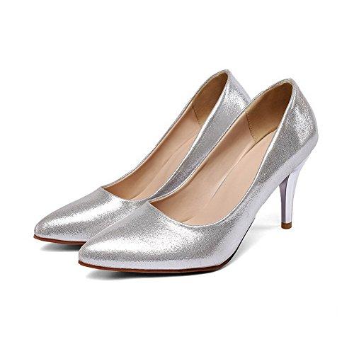 AllhqFashion Damen Ziehen Auf Spitz Zehe Pailletten Rein Pumps Schuhe Silber