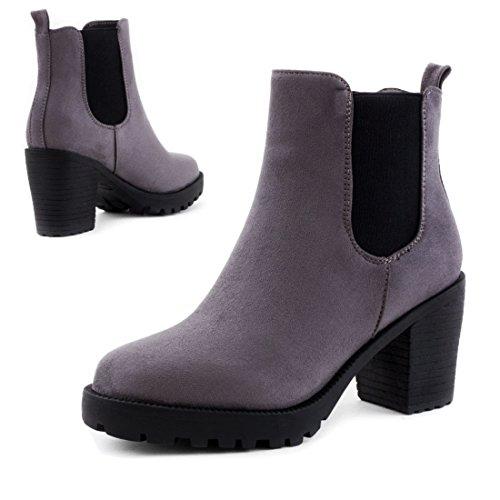 Stylische Damen Ankle Chelsea Boots Stiefeletten mit Blockabsatz in hochwertiger Lederoptik Grau