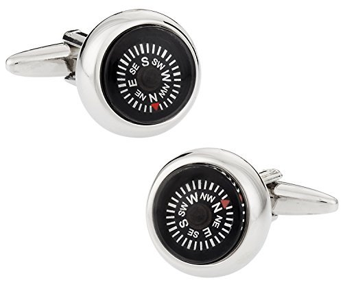 Functional Working Compass Silver Cufflinks with Black Face with Presentation Box