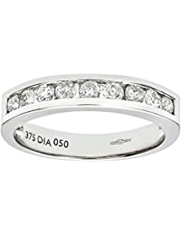Naava Bague - Femme - Or blanc (9 carats) 2.6 Gr - Diamant 0.5 Cts